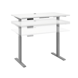 """Bush Business Furniture Move 60 Series 48""""W x 30""""D Height Adjustable Standing Desk, White/Cool Gray Metallic, Standard Delivery"""