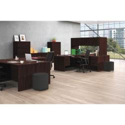 """HON® 10700 """"U""""-Shaped Workstation Single-Pedestal Credenza, Pedestal On Left, Mahogany"""