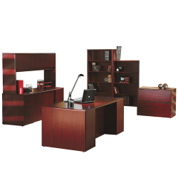 HON® 10700 Series Double Pedestal Desk, Mahogany