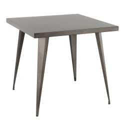 Lumisource Austin Industrial Dining Table, Square, Antique