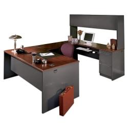 "HON® 38000 Modular 72""W Desk Shell, Mahogany/Charcoal"