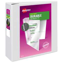 """Avery® Durable View Binders, With EZD® Rings, 8 1/2"""" x 11"""", 4"""" Rings, 35% Recycled, White"""