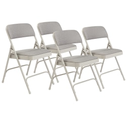 National Public Seating 2200 2-Hinge Folding Chairs, Gray, Set Of 4 Chairs