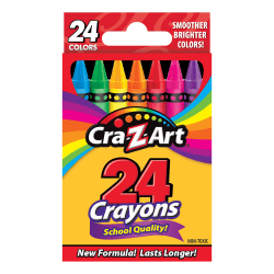 Cra-Z-Art Basic Crayons, Assorted Colors, Box Of 24 Crayons