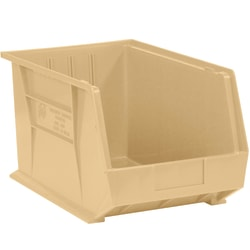 "Office Depot® Brand Plastic Stack And Hang Bin Boxes, 10 3/4"" x 8 1/4"" x 7"", Ivory, Pack Of 6"