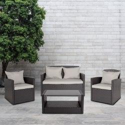 Flash Furniture Aransas Series 4-Piece Patio Set, Black