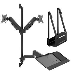 """Mount-It! MI-7992 Wall-Mount Workstation With Dual Monitor Mount, Keyboard Tray And CPU Holder, 12""""H x 41""""W x 6""""D, Black"""