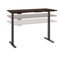 "Bush Business Furniture Move 60 Series 72""W x 30""D Height Adjustable Standing Desk, Mocha Cherry/Black Base, Standard Delivery"