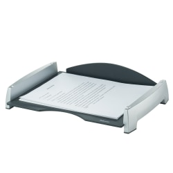 "Fellowes® Office Suites Letter Tray, 2 1/2""H x 14 13/16""W x 10 5/16""D, Black/Silver"