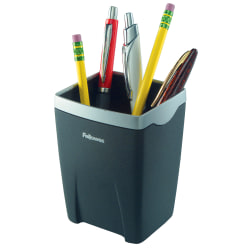 "Fellowes® Office Suites Pencil Cup, 4 1/4""H x 3 1/8""W x 3 1/8""D, Black/Silver"