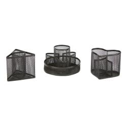"Mind Reader Metal Mesh Desk Organizer Cups, 5-3/4""H x 5-3/4""W x 5-3/4""D, Pack of 3 Cups"