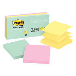 """Post-it® Pop-up Notes, 3"""" x 3"""", Marseille Color Collection, Pack Of 6 Pads"""