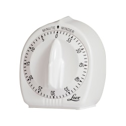 Lux Classic Mechanical 60-Minute Timer, White, Pack Of 2