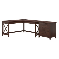 """Bush Furniture Key West 60""""W L-Shaped Desk With Lateral File Cabinet, Bing Cherry, Standard Delivery"""
