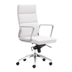Zuo Modern® Engineer High-Back Office Chair, White/Chrome