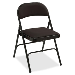 Lorell® Padded Seat Steel Folding Chair, Black, Set Of 4