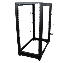 "StarTech.com 25U Adjustable Depth Open Frame 4 Post Server Rack w/ Casters / Levelers and Cable Management Hooks - For Server, LAN Switch, A/V Equipment, Patch Panel, KVM Switch - 25U Rack Height x 18.30"" Rack Width x 40"" Rack Depth - Floor Standing"
