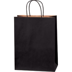 "Partners Brand Tinted Shopping Bags, 13""H x 10""W x 5""D, Black, Case Of 250"