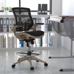 Flash Furniture Mesh Mid-Back Drafting Chair, Black/Gold