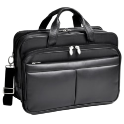 McKlein Walton Leather Expandable Briefcase, Black
