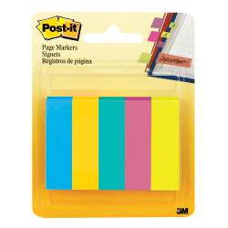 """Post-it® Notes Page Markers, 1/2"""" x 2"""", Jewel Pop Colors, 100 Per Pad, Pack Of 5 Pads"""