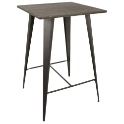 Lumisource Oregon Industrial Table, Square, Espresso/Antique Brown