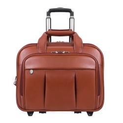 """McKlein Damen Wheeled Leather Briefcase With 17"""" Laptop Pocket, Brown"""