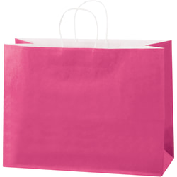 "Partners Brand Tinted Paper Shopping Bags, 12""H x 16""W x 6""D, Cerise, Case Of 250"