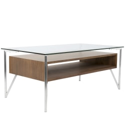 Lumisource Hover Contemporary Coffee Table, Rectangular, Brushed Stainless Steel/Walnut/Clear