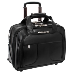 McKlein Chicago Wheeled Leather Laptop Case With Removable Briefcase, Black