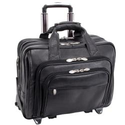 McKlein Gold Coast Detachable-Wheeled Leather Laptop Case, Black