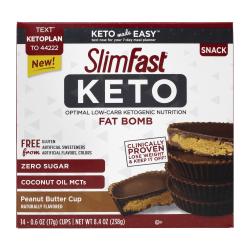 Slim Fast Keto Fat Bomb Peanut Butter Cups, 0.6 Oz, 14 Cups Per Box, Pack Of 2 Boxes