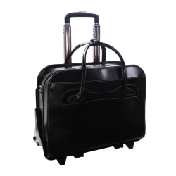 McKlein Willow Brook Leather Detachable-Wheeled Briefcase, Black