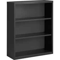 Lorell® Fortress Series Steel Bookcase, 3-Shelf, Charcoal