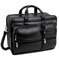 McKlein Clinton Detachable-Wheeled Leather Laptop Case, Black