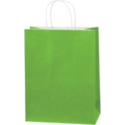 """Partners Brand Tinted Paper Shopping Bags, 13""""H x 10""""W x 5""""D, Citrus Green, Case Of 250"""