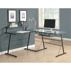 Monarch Specialties L-Shaped Glass Computer Desk, Clear/Black