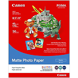 """Canon® Matte Photo Paper, Letter Size (8 1/2"""" x 11""""), 10 Mil, Pack Of 50 Sheets"""