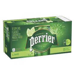 Perrier Sparkling Mineral Water, Lime, 8.45 Oz, Pack Of 10