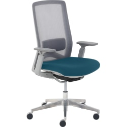 True Commercial Melbourne Mesh/Fabric Mid-Back Chair, Teal/Off-White