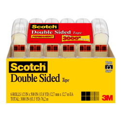 """Scotch® Double-Sided Tape, 1/2"""" x 500"""", Clear, Pack Of 6 Rolls"""
