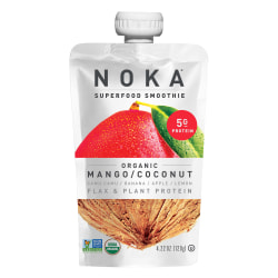 NOKA Single-Serve Superfood Smoothies, Mango Coconut, 4.22 Oz, Pack Of 12 Smoothies