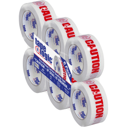 """Tape Logic® Caution - If Seal Is Broken Preprinted Carton Sealing Tape, 3"""" Core, 2"""" x 110 Yd., Red/White, Case Of 6"""