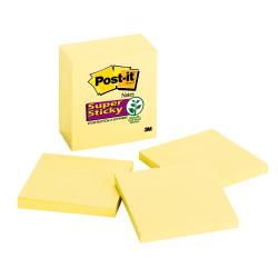 "Post-it® Super Sticky Notes, 3"" x 3"", Canary Yellow, Pack Of 5 Pads"