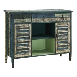 "Powell Bota 2-Door 3-Drawer Server Console Table, 35-15/16""H x 47""W x 14-3/4""D, Weathered Multicolor"