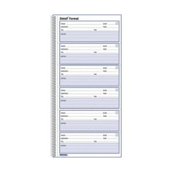 "Rediform Voice Mail Log Book - 600 Sheet(s) - Wire Bound - 1 Part - 5 5/8"" x 10 5/8"" Sheet Size - White Sheet(s) - Blue Print Color - White Cover - Recycled - 1 Each"