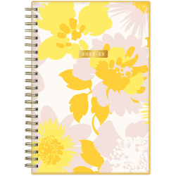"""Blue Sky™ Trina Turk Weekly/Monthly Planner, 5"""" x 8"""", Soft Daisies Yellow, July 2021 To June 2022, 128133"""