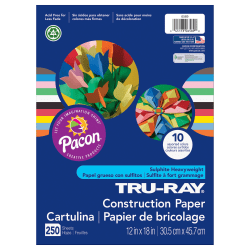 "Pacon® Tru-Ray Construction Paper Bulk Assortment, 12"" x 18"", 10 Assorted Colors, Pack Of 250 Sheets"