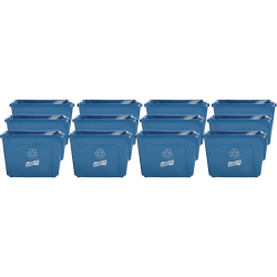 "Genuine Joe 14-Gallon Recycling Bin - 14 gal Capacity - Rectangular - 14.5"" Height x 19.5"" Width x 15.4"" Depth - Blue"