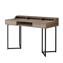 Monarch Specialties Computer Desk With Shelves, Dark Taupe/Black